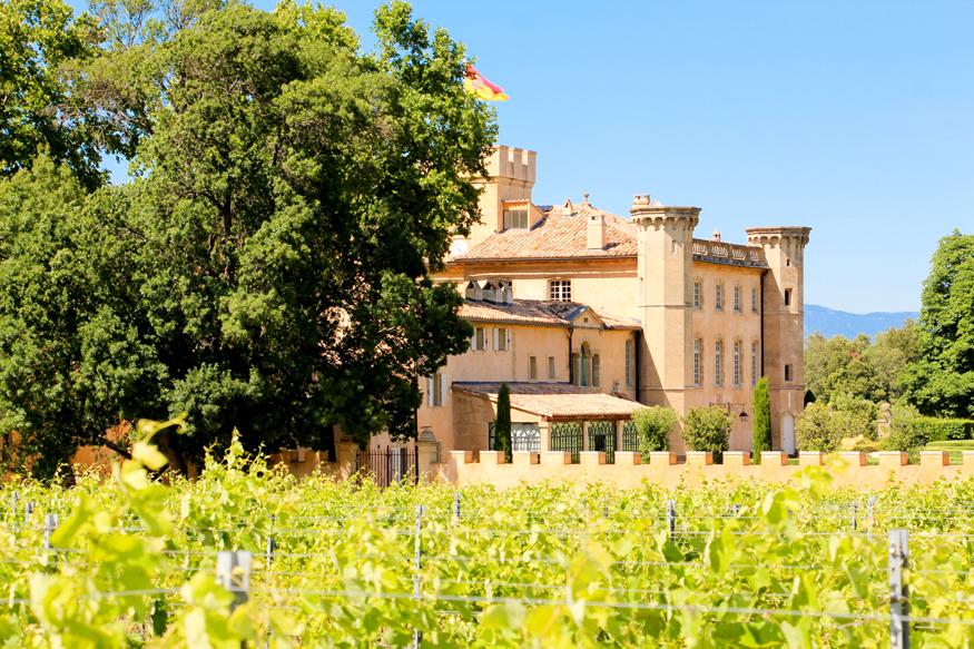 Vista del château desde las viñas de Villa Baulieu.