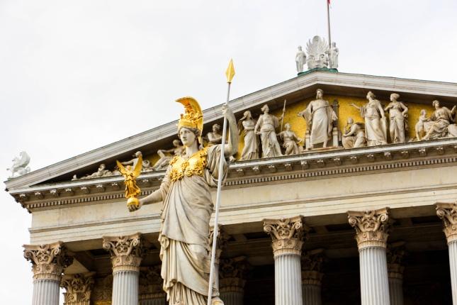 Palas Atenea delante del Parlamento Austriaco.
