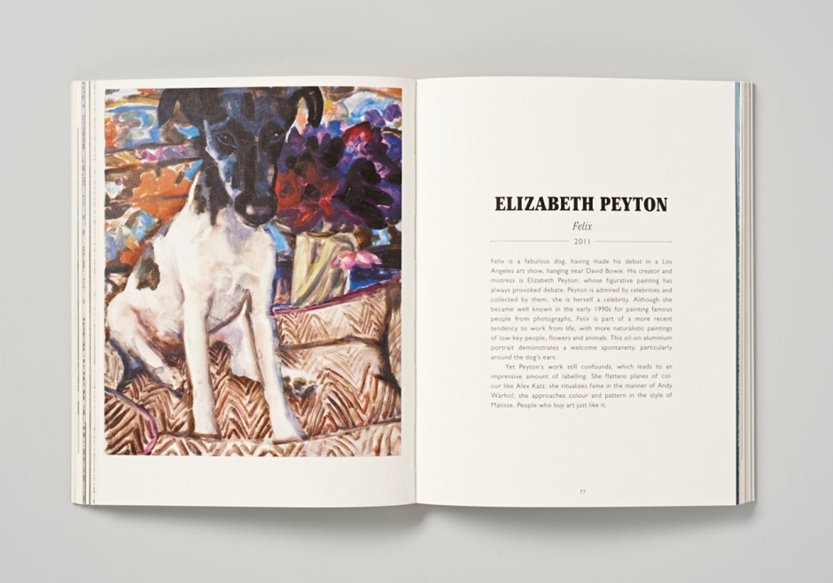 """Felix"" by Elizabeth Peyton a fabulous dog who made his debut in a Los Angeles art show, hanging near David Bowie."